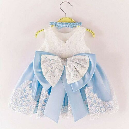 Baby Girls Lace Bowknot Princess Wedding Formal Tutu Dress+Headband Set Clothes