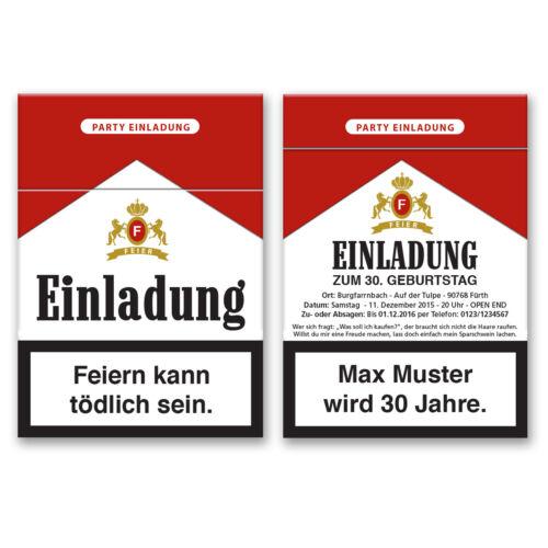 Einladungskarten zum Geburtstag als Zigarettenschachtel Einladung Zigaretten