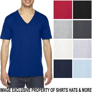 American-Apparel-V-Neck-T-Shirt-Basic-Tee-Short-Sleeve-PRESHRUNK-Cotton-XS-2XL