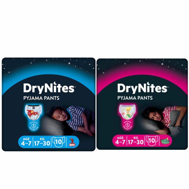 Huggies Dry Nites Pyjamas For Boys & Girls Size 4 - 7 Dry Nights Nappy Pants