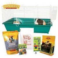 Sunseed Guinea Pig Starter Kit Pet Supplies - Bottle, Bowl, Treat,food, Bedding