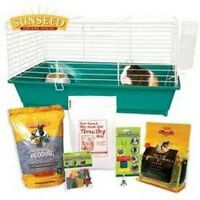 Sunseed Guinea Pig Starter Kit Pet Supplies - Bottle, Bowl, Treat,food, Bedding