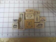 10 food kitchen theme stamps flour ham cheese juice collander berries pot pans &
