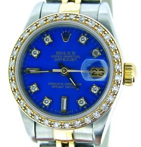 Rolex-Datejust-Lady-18K-Yellow-Gold-amp-Steel-Watch-Diamond-Dial-Bezel-Blue-69173