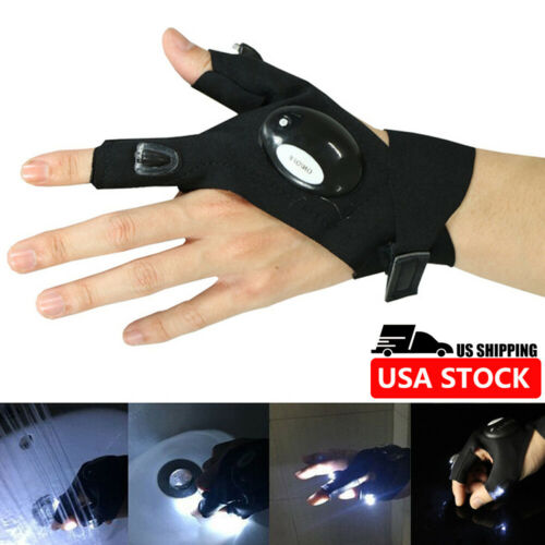 Details about  /Night Light Waterproof Fishing Gloves W//LED Flashlight Rescue Tools Outdoor Gear