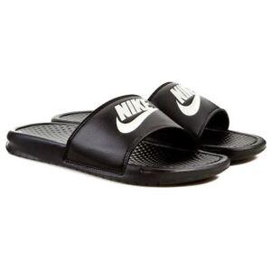 8ac5e101af89 Image is loading Nike-Mens-Benassi-JDI-Flip-Flops-Black-White-