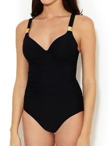 b5315ce505 Image is loading SPANX-RIVETING-RUCHED-ONE-PIECE-SWIMSUIT-SLIMMING-BLACK-