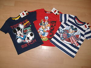 NEW-BOYS-DISNEY-MICKEY-MOUSE-T-SHIRT-SHORT-SLEEVE-NAVY-RED-AGES-2-3-4-5-6-7-8