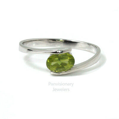 Birthstone Mother's Ring Sterling Stackable Peridot August Gemstone .925