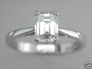 Diamond-Solitaire-Platinum-Ring-Emerald-Cut-1-00-ct-Certified-D-Colour-Flawless