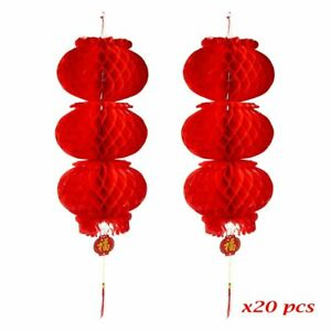 ASIAN HOME Red Paper Lantern Hanging Lanterns for Chinese Spring Festival,...