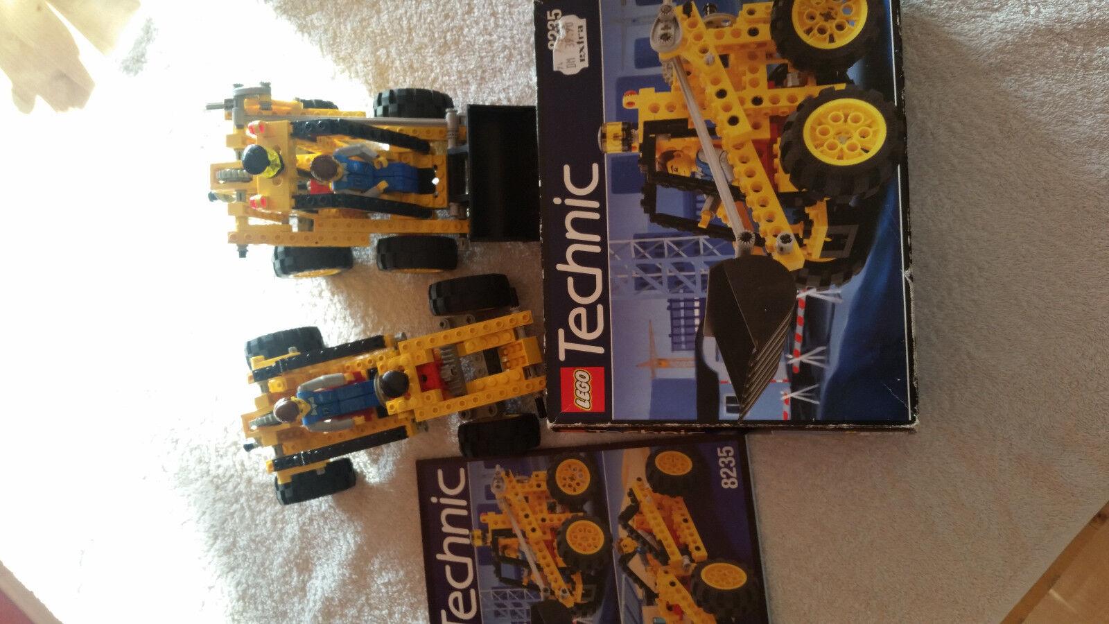 Lego Technic 8235 bitte lesen mit OVP, BL und beide Modelle Radlader Rennwagen