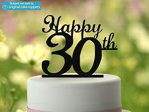 Image Is Loading 034 Happy 30th Black Birthday Cake