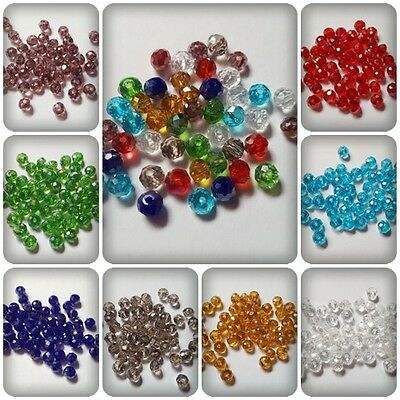 500 x AB Plated Acrylic Bicone Beads 4mm Various Colours Available