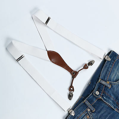 White Adjustable Braces Suspenders Men Women Fancy Dress Clip On Slim 3.5cm
