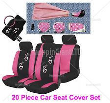 20 Pc Girly Corazón Rosa cubierta de asiento Mat Set Rueda Guante almohadillas + Tuning Kit
