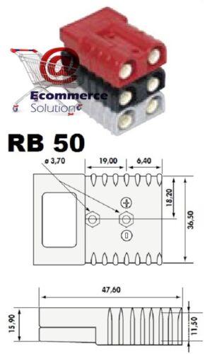 PRISE CONNECTEUR SB RB 50 RB50 SB50 ROUGE BATTERIE CHARGEUR TRANSPALETTE TREUIL