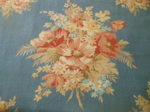 Antique Vtg Large Floral Bouquet Cotton Fabric ~ Apricot Blue ~ 1940/'s