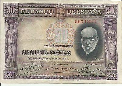 22-07-1935 3RW 2 ABRIL Pick 88 VF CONDITION Spain 50 Pesetas