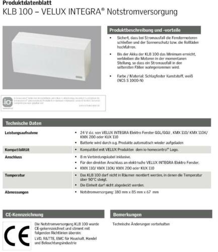 VELUX INTEGRA® Zubehör Systems io-homecontrol® KLR 200 KUX 110 KLI KLF KLB