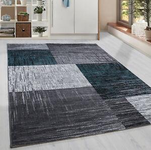 Moderner-Kurzflor-Teppich-Karo-geometrisch-Grau-Schwarz-Turkis-Meliert-Wohnzim