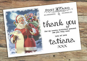 Personalise Childrens Vintage Postcard Christmas Thank You Cards