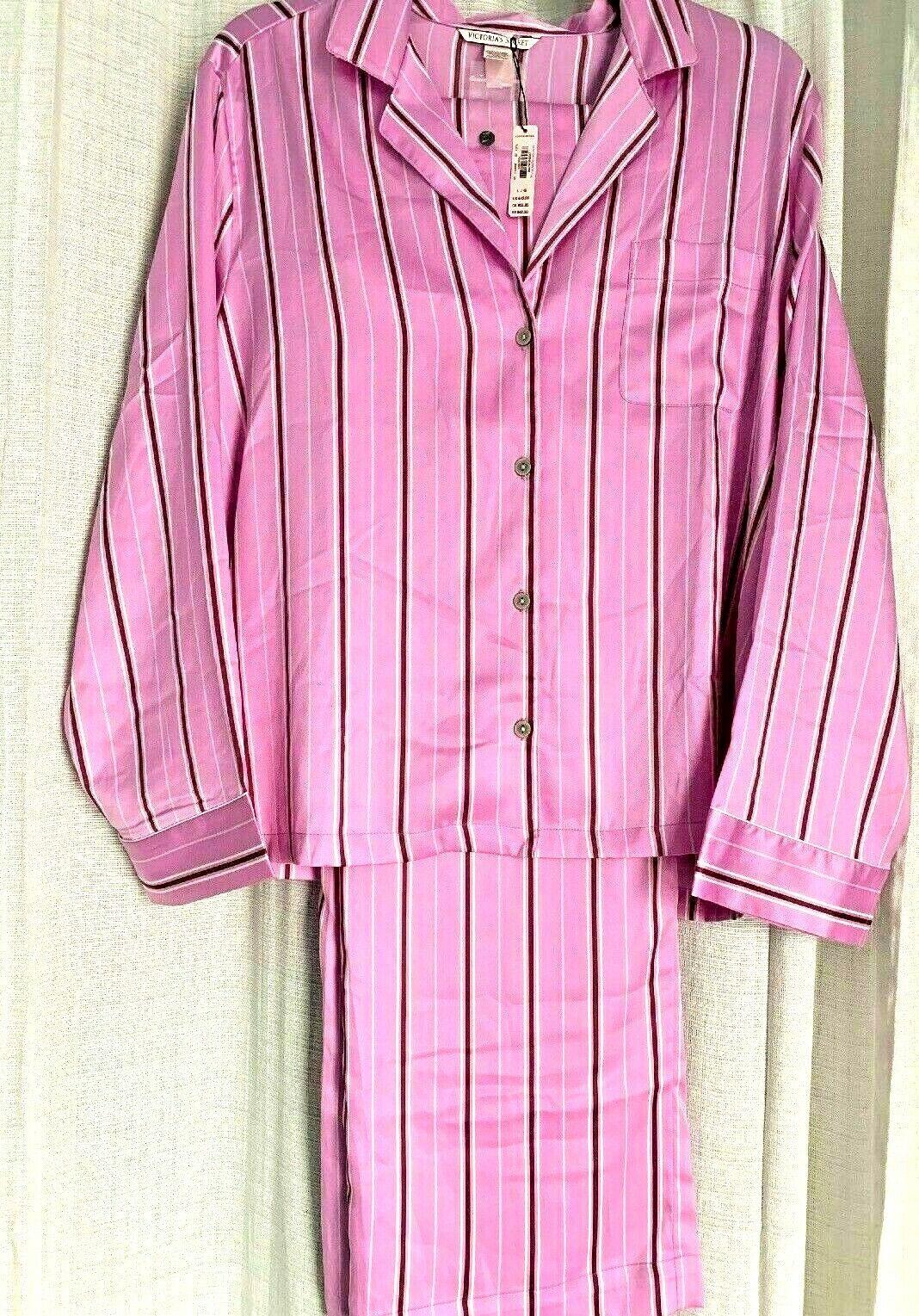aee441420d NEW VICTORIA SECRET Satin SET Pajama pants stripe XS M L Gift peach pink PJ  ntxvxj6447-Sleepwear   Robes