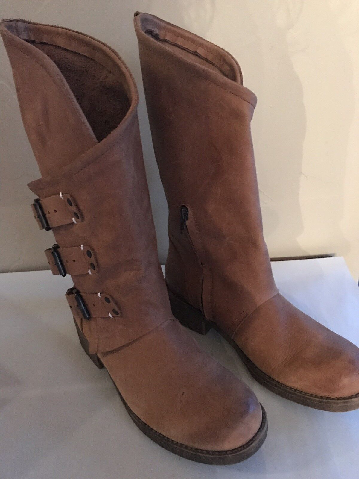Electric Coolway Boots Chocolate With Slant Top Three Three Three Buckles Size 9 f3a890