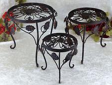 Blumentisch Beistelltisch Blumenhocker 3 Stück Eisen Metall Hocker Blumenständer