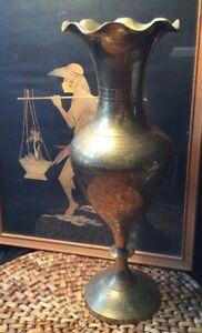 70s-Vintage-Ethnic-Large-Genuine-Solid-Brass-Ornate-Fluted-Vase
