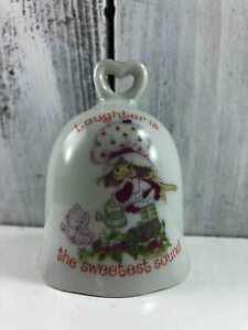 Vintage-1980-Strawberry-Shortcake-Custard-Find-Red-White-Porcelain-Glass-Bell