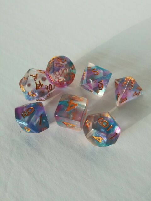 7pcs Sided NebuIa Iridescent Clear Dice Die for RPG Dungeons & Dragons D&D Set