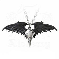 Necklace Collier Alchemy Gothic Ravenger Raven Skull Wings Dark Corbeau Gothique
