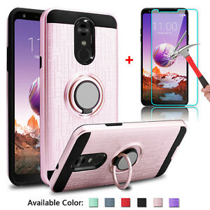 Details about For LG Stylo 4/ 4+ Plus Shockproof Ring Holder Stand Case  with Screen Protector