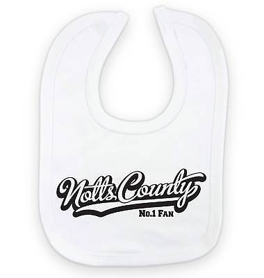 NOTTS COUNTY Football Baby Bib-White//Blue//Pink-Personalised Gift-Boy//Girl-Cotton