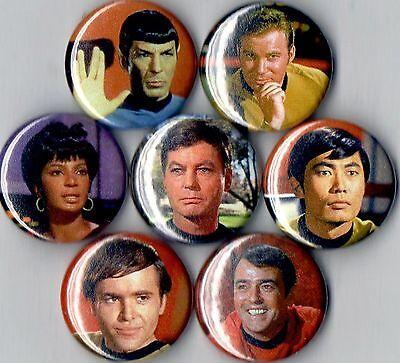 Star Trek 7 pins buttons badges original kirk spock new 60s