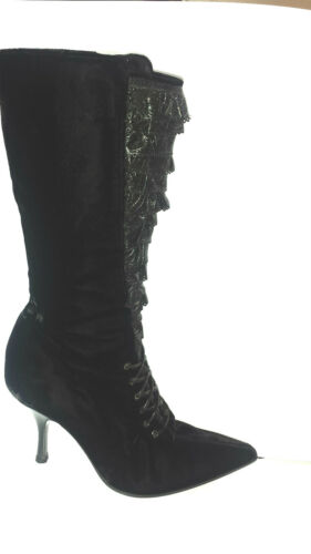 Leather nero di Ruffle 37 Rossi Sexy Sergio W Detail 5 It Stivali Laceup velluto Ct8UxXqw