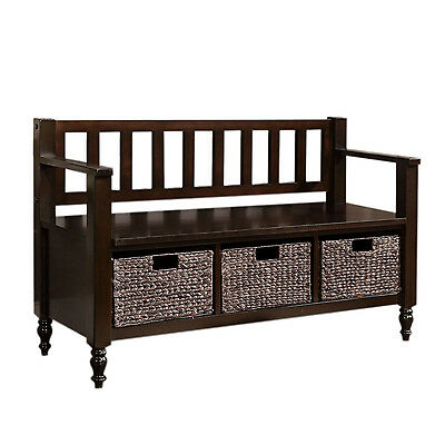 Simpli Home Dakota  Dark Exeter Brown Entryway Storage Bench
