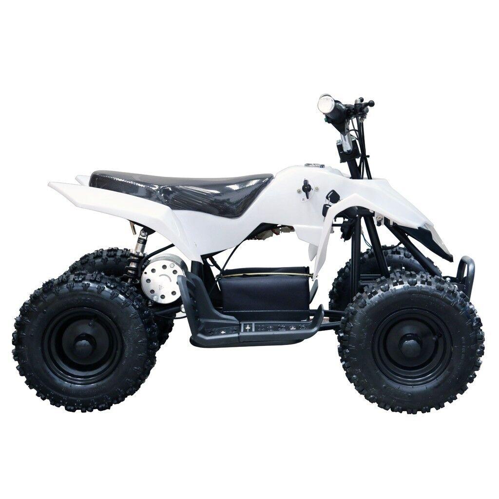 New White Kids Electric ATV 4 Wheeler 24V 350W  Mini Quad Motor Bike 6+ Year-old  70% off cheap