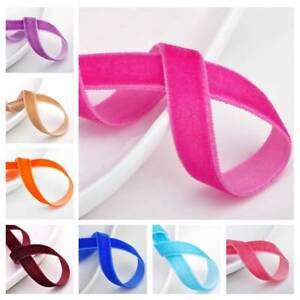 Hot-10-yards-3-8-034-10mm-Flocked-Velvet-Ribbon-Bows-Sew-Trims-Crafts-Headband-DIY