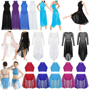 Girls-Lyrical-Praise-Ballet-Dance-Dress-Leotard-High-low-Hem-Modern-Dancewear