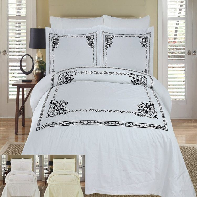 Elaborate Athena Embroidered 100% Cotton 210TC Duvet Cover Sets