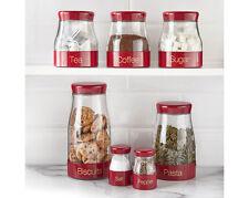 tea coffee sabichi storage set sugar canisters 7 piece pasta biscuit red kitchen