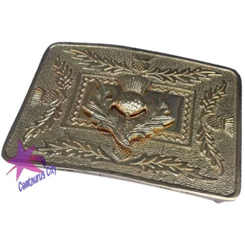 CC Scottish Highland Thistle Design Kilt Belt Buckle High Quality Gold Finish