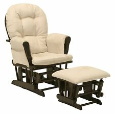 Baby Nursery Bowback Glider Rocker Rocking Chair Espresso Finish & with Ottoman