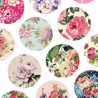 exclusive elegant classic floral 12 designs round dia 23mm sticker 3 sheets