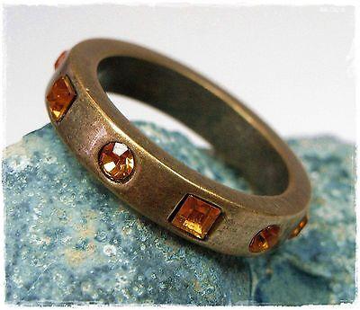 Gutherzig Neu 19mm/60 Ring Farbe Antikgold Swarovski Steine Topaz/braun-orange Damenring