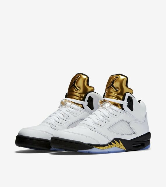 new style 7e5bc ad971 Size 18 Men's Nike Air Jordan Retro V 5 Olympic Gold White Black 136027 133