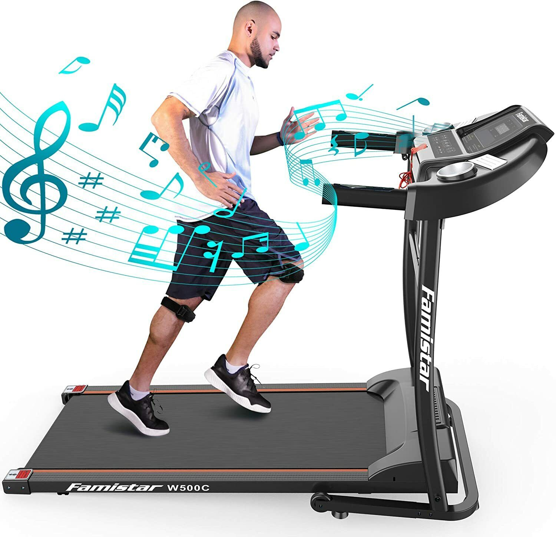 Portable Electric Folding Treadmill, Motorized Running Jogging Machine w/Rolling