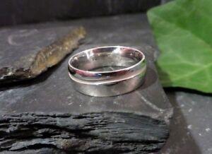 Chice-925-Silber-Ring-Silver-Deppo-Breit-Schlicht-Rille-Grosse-Groesse-Sterling-Top